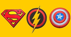 3 patches (superman, the flash and captain america symbols)